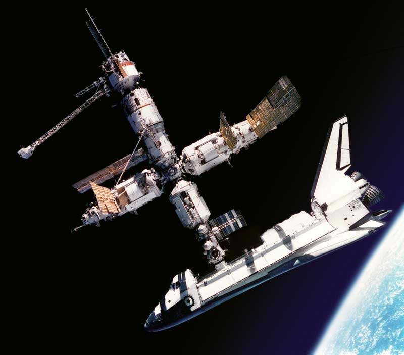 Space Shuttle Atlantis docks with Mir