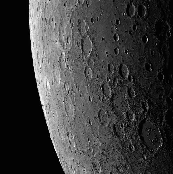 Alver crater, Belgica Rupes and other features of Mercury