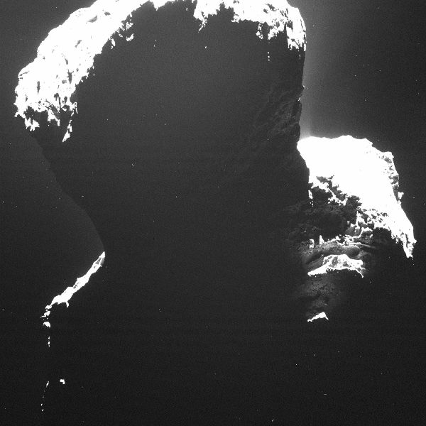 Rosetta takes a picture of the dark side of comet 67P/Churyumov-Gerasimenko