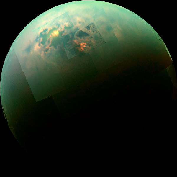Visual and Infrared Mapping Spectrometer on Cassini took this picture of Titan