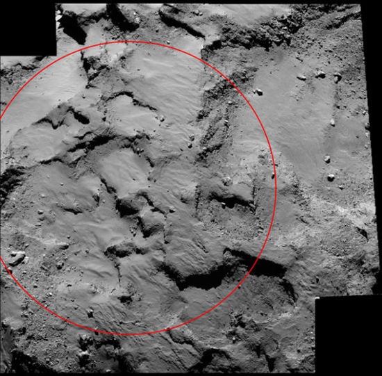 Rosetta spacecraft photographs the primary landing site for its Philae lander