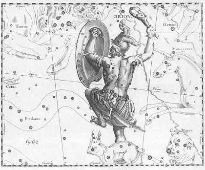 Orion constellation as portrayed by Johannes Hevelius depicting the Greek fighter