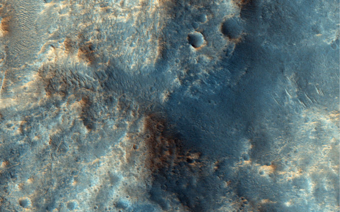 Mars Reconnaissance Orbiter (MRO) took this picture of a plateau that includes Ares Vallis