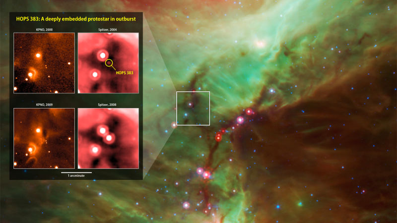 NASA captured this picture of HOPS 383, a young protostar