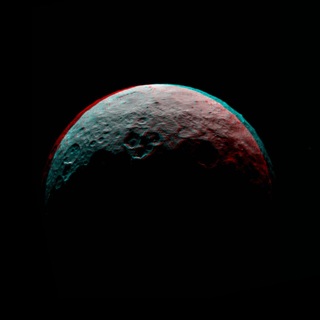 NASA's Dawn spacecraft took this anaglyph of Ceres