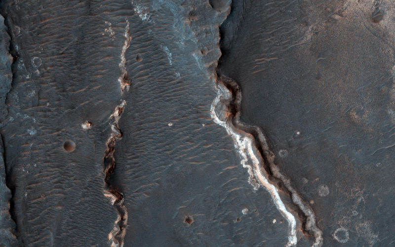 Fluvial features on Mars golden crater