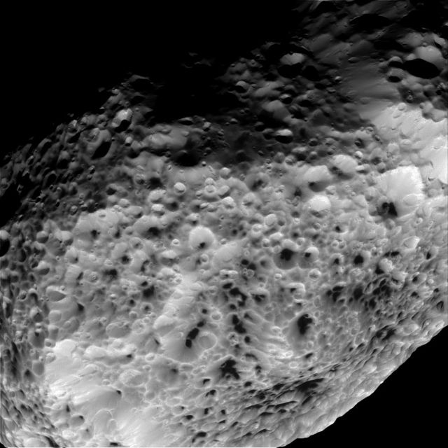 Saturn's moon hyperion with very sponge like features
