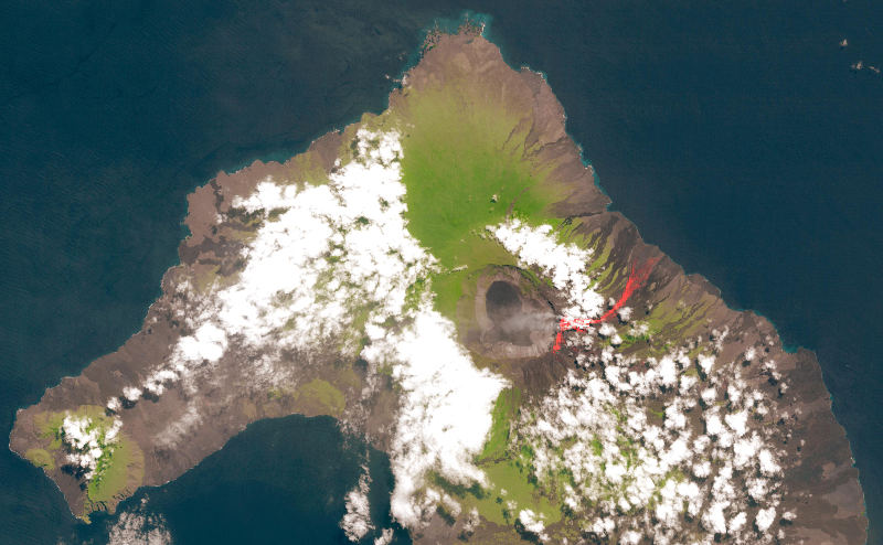 NASA captures lava flowing out of the Wolf volcano on Isabela Island