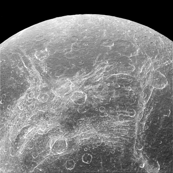 Not really rivers, but chasms on the satellite Dione