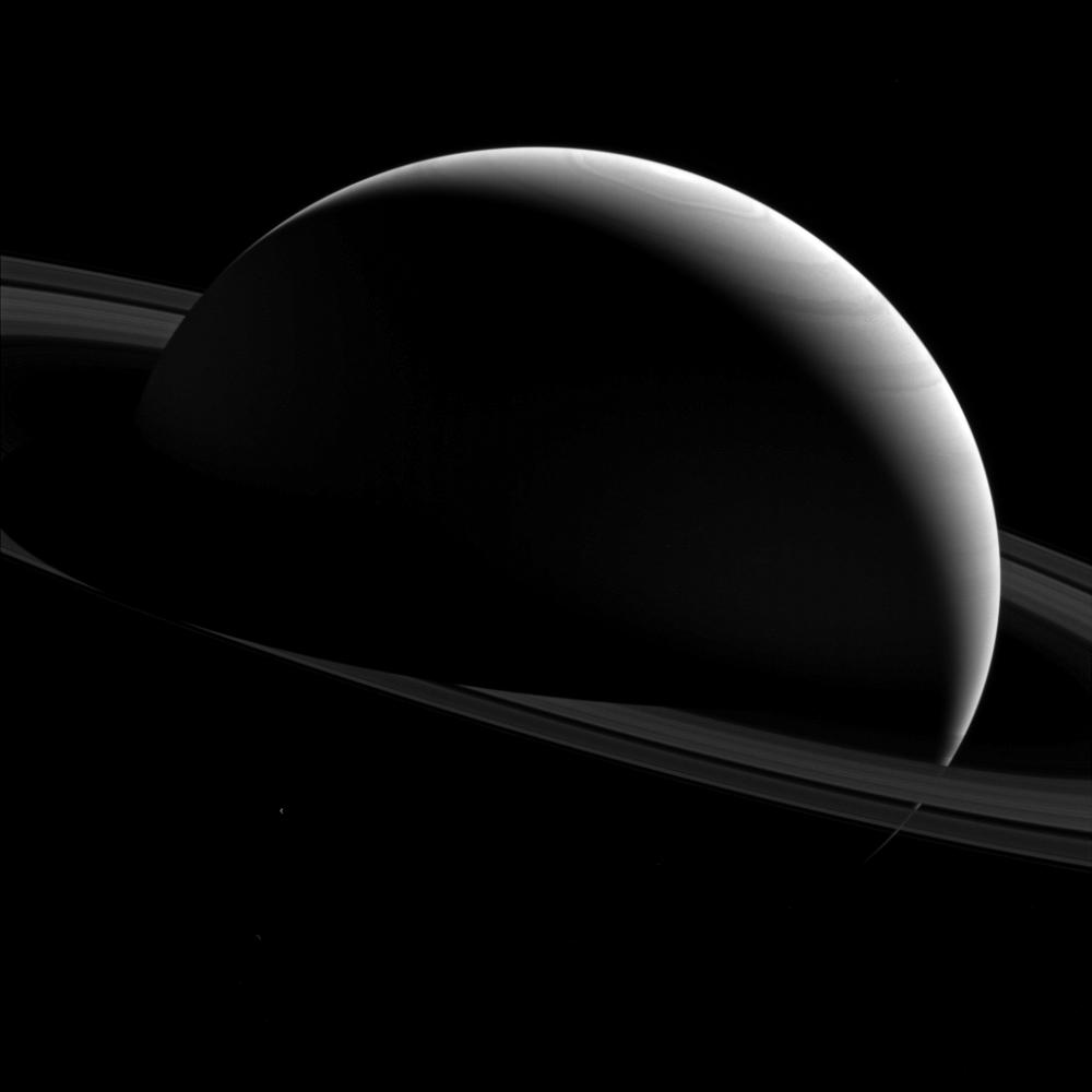 Night time on Saturn and its moon Tethys